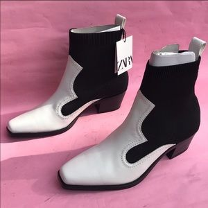 Zara Black/White Booties